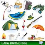 Campeggio, cacciando e pescare Fotografia Stock