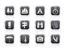 Campeggio, corsa ed icone di turismo Fotografia Stock Libera da Diritti