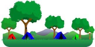 Campeggio della foresta Immagine Stock