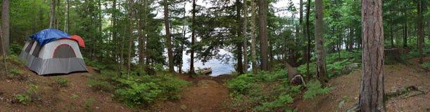 Campeggio della tenda della foresta Fotografie Stock