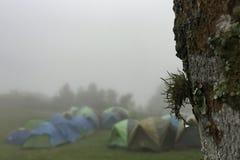 Campeggio di inverno fotografie stock