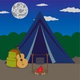 Campeggio di notte. Immagine Stock