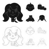 Campeggio, donna, ragazzo, borsa Icone stabilite della raccolta di festa della famiglia nel nero, illustrazione delle azione di s Fotografia Stock