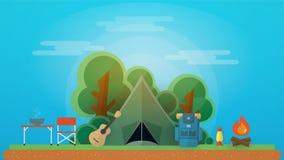 Campeggio e concetto all'aperto di ricreazione Illustrazione Vettoriale