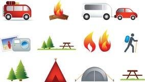 Campeggio ed insieme esterno dell'icona Immagine Stock Libera da Diritti
