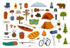 Campeggio facendo un'escursione i grafici dei rifornimenti e dell'ingranaggio illustrazione vettoriale