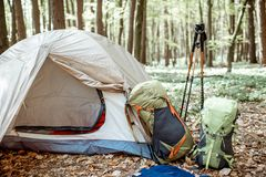 Campeggio nella foresta fotografia stock libera da diritti