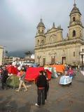 Campeggio per la pace, a Bogota, la Colombia Fotografia Stock