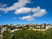 Campello skyline in Alicante view from beach Morro blanc. In Spain royalty free stock photos