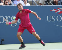 Campeón Stanislas Wawrinka del Grand Slam de Suiza en la acción durante su partido redondo cuatro en el US Open 2016 Fotos de archivo
