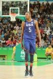 Campeão olímpico Kevin Durant da equipe EUA na ação na harmonia de basquetebol do grupo A entre a equipe EUA e Austrália Imagens de Stock Royalty Free