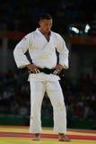 Campeão olímpico República Checa Judoka Lukas Krpalek após a vitória contra Jorge Fonseca do fósforo dos homens -100 quilograma d Imagens de Stock