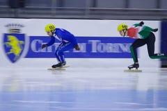Campeonato corto europeo del patinaje de velocidad de la pista Imágenes de archivo libres de regalías