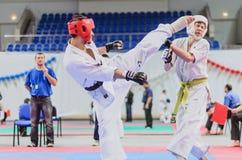 Campeonato da região de Moscovo no karaté de Kyokushinkai. Fotografia de Stock