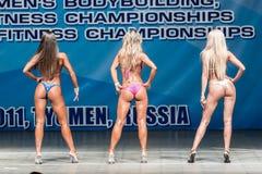 Campeonato de Bodyfitness das mulheres em Tyumen Rússia Fotos de Stock Royalty Free