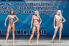 Campeonato de Bodyfitness das mulheres em Tyumen Rússia Imagens de Stock Royalty Free