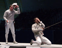 Campeonato de cercado del mundo 2006; Pozdniakov-Pina Foto de archivo libre de regalías