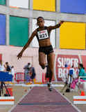 Campeonato del atletismo, Sandra Tavares Foto de archivo