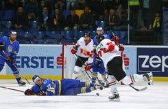 Campeonato 2017 del mundo del hockey sobre hielo Div 1 en Kiev, Ucrania Fotografía de archivo libre de regalías