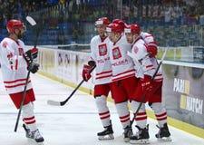Campeonato 2017 del mundo del hockey sobre hielo Div 1 en Kiev, Ucrania Foto de archivo libre de regalías