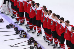 Campeonato 2017 del mundo del hockey sobre hielo Div 1 en Kiev, Ucrania Foto de archivo