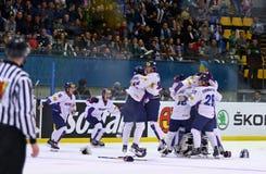 Campeonato 2017 del mundo del hockey sobre hielo Div 1A en Kiev, Ucrania Fotos de archivo libres de regalías
