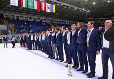 Campeonato 2017 del mundo del hockey sobre hielo Div 1A en Kiev, Ucrania Fotografía de archivo
