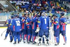 Campeonato 2017 del mundo del hockey sobre hielo Div 1 en Kyiv, Ucrania Imágenes de archivo libres de regalías