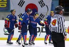 Campeonato 2017 del mundo del hockey sobre hielo Div 1 en Kyiv, Ucrania Imagen de archivo libre de regalías