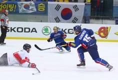 Campeonato 2017 del mundo del hockey sobre hielo Div 1 en Kyiv, Ucrania Fotos de archivo