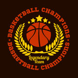 Campeonato do basquetebol - emblema do vetor Foto de Stock Royalty Free