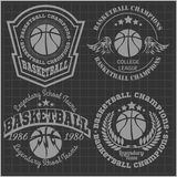Campeonato do basquetebol - emblema do vetor para t Foto de Stock Royalty Free
