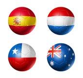 Campeonato do mundo de Brasil bandeiras de 2014 grupos B na bola de futebol Imagens de Stock