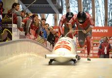Campeonato do mundo de esqueleto do trenó de FIBT Viessmann @ fotografia de stock