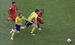 Campeonato do mundo 2018 de FIFA Rússia Inglaterra - Suécia fotos de stock royalty free