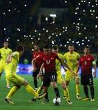 Campeonato do mundo de FIFA Ucrânia 2018 contra Turquia em Kharkiv, Ucrânia Imagens de Stock Royalty Free