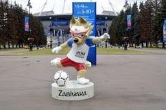 Campeonato do mundo 2018 de FIFA Wolf Zabivaka imagens de stock