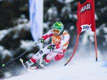 Campeonato do mundo do esqui alpino - treinamento em declive de Val Gardena imagens de stock royalty free