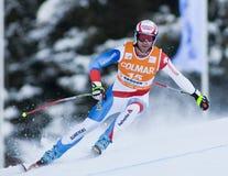 Campeonato do mundo do esqui alpino - treinamento em declive de Val Gardena fotografia de stock royalty free