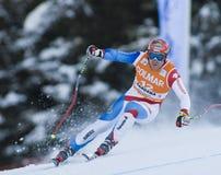 Campeonato do mundo do esqui alpino - treinamento em declive de Val Gardena imagem de stock