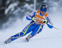 Campeonato do mundo do esqui alpino - treinamento em declive de Val Gardena foto de stock