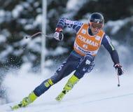 Campeonato do mundo do esqui alpino - treinamento em declive de Val Gardena fotos de stock