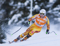 Campeonato do mundo do esqui alpino - treinamento em declive de Val Gardena imagem de stock royalty free
