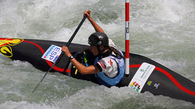Campeonato do mundo do slalom ICF da canoa - Nuria Vilarrubla (Espanha) Fotos de Stock Royalty Free