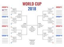 Campeonato do mundo 2018 em Rússia, em fase do grupo e em estrada ao final, esquema do competiam com programação do jogo Fotografia de Stock Royalty Free