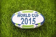 Campeonato do mundo 2015 escrito em uma bola de rugby Fotografia de Stock Royalty Free