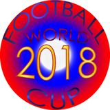 Campeonato do mundo no logotipo 2018 de Rússia, emblema do futebol Fotos de Stock Royalty Free