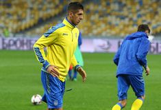 Campeonato do mundo que qualifica: Croácia de Ucrânia v em Kiev Pre-fósforo Fotografia de Stock