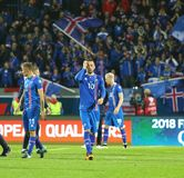 Campeonato do mundo 2018 que qualifica: Islândia v Ucrânia em Reykjavik Imagens de Stock Royalty Free