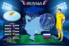 Campeonato do mundo Samara Cosmos Arena Krylya de Rússia ilustração royalty free